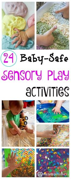 28 Baby-Safe and Toddler Approved Sensory Play Activities Try these fun and educational sensory play activities with your baby and toddler. They are taste-safe and don't pose a choking hazard, and fun enough for the older kids to join in the fun. Baby Sensory Play, Baby Play, Baby Toys, Sensory Bins, Fun Baby, Baby Sensory Bags, Sensory Games, Diy Sensory Toys For Babies, Sensory Table