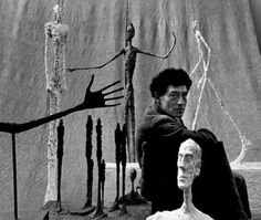 Gordon Parks :: Alberto Giacometti with sculptures, Paris, 1951