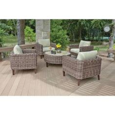 Woodard, Willow Springs 5-Piece Woven Patio Chat Set with Cushions, RXAW-408-SET at The Home Depot - Mobile