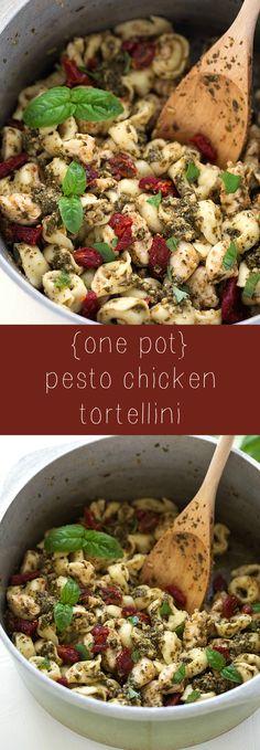 Super easy ONE POT pesto chicken tortellini