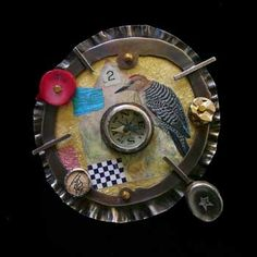 Mixed Media, Ken Bova, Artist, You can get from there to here, brooch in sterling silver, 14k gold, 24k gold leaf, toy compass, deer antler, butterfly wing, coral, and mixed media