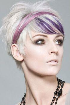 Violetit raidat, tuhkanvaaleat lyhyet hiukset. Inspiraatiota hiuksille Syksy 2014 / Talvi 2015 #anttila #netanttila #anttilakauneus #hiustyylit