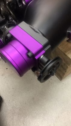 Purple + flat clear powder coating.  Learn to powder coat at http://www.powdercoatguide.com/