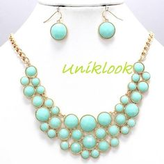 Mint green Bubble Deco Gold Elegant Chunky Fashion Jewelry Necklace Earring Set $19.99