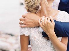 His Hers Wedding Rings    Photography: Tec Petaja   Read More:  http://www.insideweddings.com/weddings/childhood-friends-celebrate-wedding-at-marriott-familys-lake-house/866/