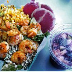 """California Mama Salad"" (watermelon radish, grilled shrimp and corn, fresh… Sesame Ginger Dressing, Watermelon Radish, Grilled Shrimp, Sunflower Seeds, Arugula, Tossed, Nom Nom, Grilling, Lime"