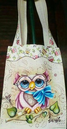 Tole Painting, Fabric Painting, Diy Tote Bag, Reusable Tote Bags, Owl Cartoon, Jute Bags, Bible Crafts, Holidays And Events, Craft Fairs
