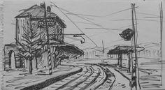 E. Besozzi pitt. s.d. (1954) Stazione  china su carta cm. 11x20 arc. 1247