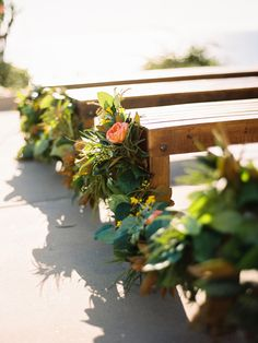 Greenery aisle decor for beach seating. Jesi Haack Design and Krista John Florals.