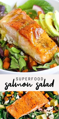 This superfood salmon salad loaded with roasted sweet potato croutons, avocado, pickled onions and dressed in a light lemon vinaigrette! Salmon Salad Recipes, Baked Salmon Recipes, Seafood Recipes, Chicken Recipes, Vegan Salmon Recipe, Salmon Meals, Easy Healthy Recipes, Vegetarian Recipes, Easy Meals