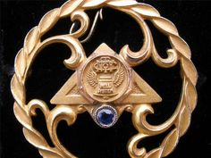 LGB Sapphire New York Bell Systems Telephone 10K Gold Filled GF Pendant Brooch