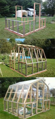 42 BEST tutorials on how to build amazing DIY greenhouses simple cold frames and cost-effective hoop house even when you have a small budget and little carpentry skills Everyone can have a productive winter garden and year round harvest A Piece Of Rainbow Diy Greenhouse Plans, Greenhouse Farming, Cheap Greenhouse, Indoor Greenhouse, Pergola Plans, Greenhouse Heaters, Pallet Greenhouse, Polycarbonate Greenhouse, Pergola Roof