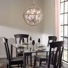 Shop Kichler Lighting Vivian Brushed Nickel Hardwired Clear Glass Globe Standard Chandelier At Lowes Canada Dining Room