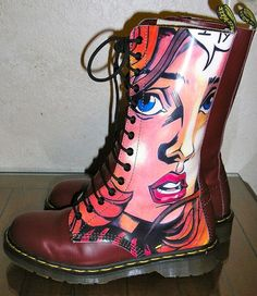 red Doc Marten - a clear Warhol inspiration Dr. Martens, Botas Dr Martens, Red Doc Martens, Sock Shoes, Shoe Boots, Doc Martins Boots, Royal Blue Heels, Martens Style, Sandals
