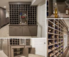 A clean nutmeg melamine wine storage unit with spacious lower cabinets and horizontal drawers.  Learn more here: https://www.closetfactory.com/pantry-wine-cellars/