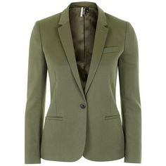Women's Topshop Premium Suit Blazer ($125) ❤ liked on Polyvore featuring outerwear, jackets, blazers, green blazers, shiny jacket, green jacket, 1 button blazer and one button blazer