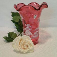 Fenton Cranberry Hearts 100th Anniversary Vase - Blue Bells, Cockle Shells | eBay