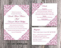 DIY Wedding Invitation Template Set Editable Word File Instant Download Printable Flower Invitation Fuchsia Invitation Elegant Invitation by TheDesignsEnchanted on Etsy
