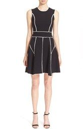 Lela Rose Contrast Trim Sleeveless Knit Fit & Flare Dress