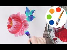 Easy way to paint a simple flower by a round brush, acrylic painting, irishkalia - YouTube