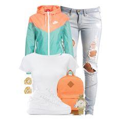 Peach and mint nike jacket