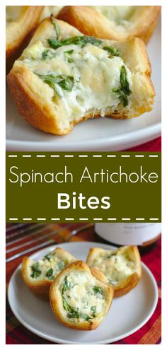 Spinach Artichoke Bites - An easy appetizer made in less than 25 minutes! Crescents filled with spinach artichoke dip and baked in a muffin pan! Spinach Appetizers, Best Appetizers, Easy Appetizer Dips, Girls Night Appetizers, Best Appetizer Recipes, Baby Food Recipes, Cooking Recipes, Food Baby, Muffin Pan Recipes