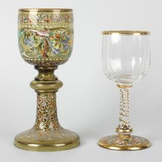 Two Moser glass goblets : Lot 11