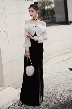 Black Banquet Evening Dress Off Shoulder Prom Dress Long Sleeve Party Dress Temperament Sexy Formal Dress Sexy Formal Dresses, Prom Dresses Long With Sleeves, Lace Evening Dresses, Off Shoulder Evening Dress, Cotton Linen, High Waisted Skirt, Party Dress, This Or That Questions, Store