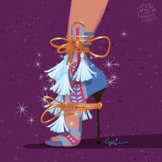 Princess Kida in @dsquared2 inspired booties  #griz #grizandnorm #fanart #fashionart #fashionillustration #shoedesign #shoelust #shoeenvy #disney #kida #atlantis #tassel #dsquared2 by grizandnorm