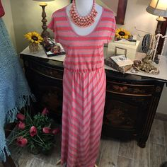 Anthropolgie New W/ Tags Coral Striped Maxi Dress