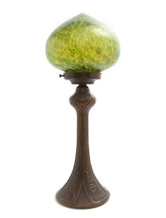 Loetz Art Nouveau Green Glass Dome Lamp