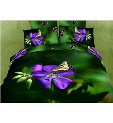 Fresh Purple Flowers Butterflies Print 4-Piece Cotton Duvet Cover Sets