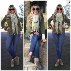 Closet Stare: Outfit Post: Military Jacket + Cream Sweater + Skinny Jeans  love the wedge booties