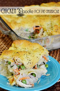 Make this Chicken Noodle Pot Pie Casserole on Monday and have enough for a few more days.  The perfect busy week night dinner.  Full of creamy gravy, veget