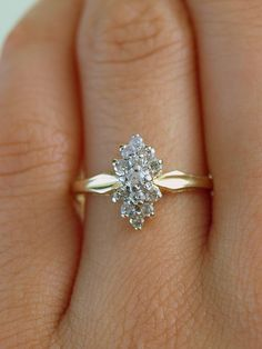 Beautiful Diamond Snowflake Petite Vintage Estate Cluster 10k Gold Engagement Ring (Size 5.5). $295.00, via Etsy.