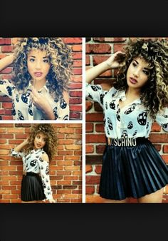 hair and outfit! Natural Curls, Natural Hair Styles, Natural Beauty, Curled Hairstyles, Cool Hairstyles, Jadah Doll, Skater Skirt Dress, Skater Skirts, Beauty Society