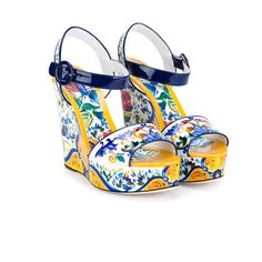 Dolce & Gabbana Floral Print Patent Leather Wedge Sandals (2,960 SAR) ❤ liked on Polyvore featuring shoes, sandals, ankle tie sandals, wedge sandals, embellished sandals, double buckle sandals and floral sandals
