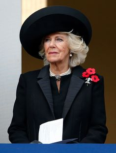 Camilla, Duchess of Cornwall attends the annual Remembrance Sunday Service at the Cenotaph on Whitehall on November 13, 2016 in London, England.