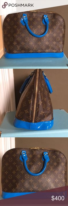 Louis Vuitton Alma Authentic Louis Vuitton Alma PM with painted vachetta in whimsical blue. This is a fashion statement that will surely get you noticed! Some bumps in the paint that could be retouched. Barely noticeable when carrying. Some stains in the interior. The bag has been authenticated by ProAuthenticators and I can provide a copy of their authentication. Get ready for the summer with a gorgeous fun bag! 12x 6.5 x 10 Louis Vuitton Bags Satchels