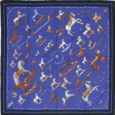 """Hermes Blue Silk """"Raconte-Moi le Cheval"""" Designer Scarf - $249.99"""