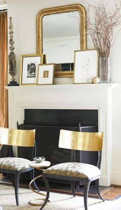 Courtney Giles Interiors - living rooms - klismos chairs, gold klismos chair, fireplace seating, Chic living room with gorgeous gold klismos Home Interior, Interior Decorating, Decorating Ideas, Modern Interior, Autumn Interior, Decor Ideas, Fireplace Mantle, Mantle Mirror, Fireplace Design