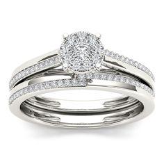 <li>Round-cut white diamond engagement ring</li><li>10k white gold jewelry</li><li><a href='http://www.overstock.com/downloads/pdf/2010_RingSizing.pdf'><span class='links'>Click here for ring sizing guide</span></a></li>