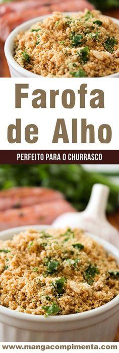 Receita de Farofa de Alho – super fácil de fazer, perfeito para o churrasco ou frango assado do final de semana! #receita #farofa #vegetariano