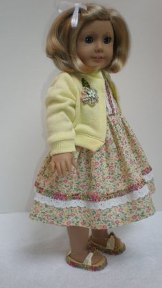 SUN DRESS w/ SWEATER (Yellow) Handmade 18 inch doll clothes fit American Girl Doll