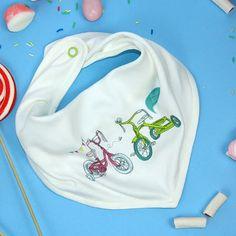 Designer baby bib  bandana Baby bib  bycicle bib by rockbabies