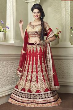 Red and Beige Colour Net Fabric Designer A Line Lehenga Choli Comes With Matching Blouse and Dupatta. This Lehenga Choli Is Crafted With Zari Work,Thread Work,Patch Work,Stone Work,. The Lehenga Is Se...