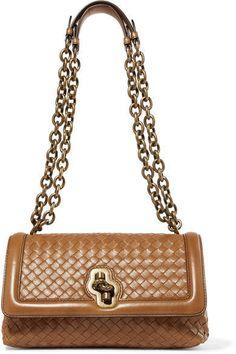 Bottega Veneta - Olimpia Knot Intrecciato Leather Shoulder Bag - Camel  Leather Shoulder Bag 3cccf472b458d