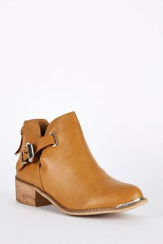 Camel Cut Out Ankle Boots with Buckle Detail