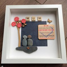 Pebble Art Mother picture Mother's Day gift gift for Birthday Presents For Mum, Mothers Day Presents, Stone Pictures, Art Pictures, Mother Pictures, Mothers Day Wreath, Stone Crafts, Box Frames, Pebble Art