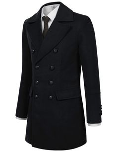 TheLees (NKDC7073) Mens Double Breasted Notched Lapel Wool Blend Long PEA Coat